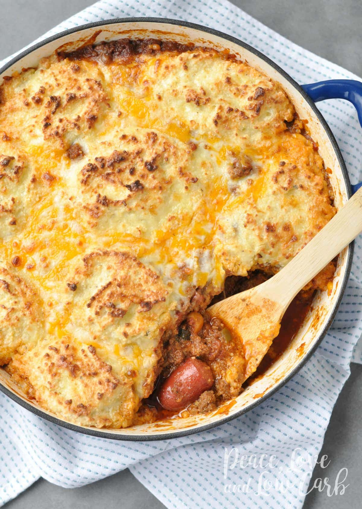 Keto Chili Dog Pot Pie Casserole | Peace Love and Low Carb