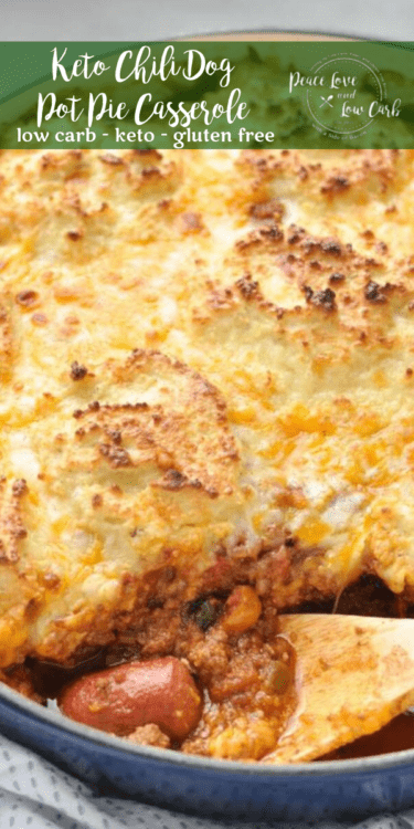Low carb and gluten free Keto Chili Dog Pot Pie Casserole. So many delicious things, all in one casserole: grass-fed hot dogs, chili, biscuits. YUM!