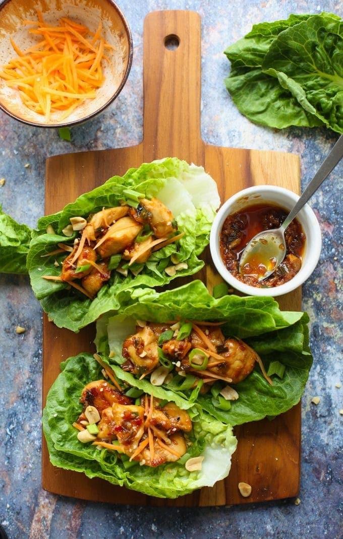 Peanut Asian Chicken Lettuce Wraps   Gluten Free with L.B.