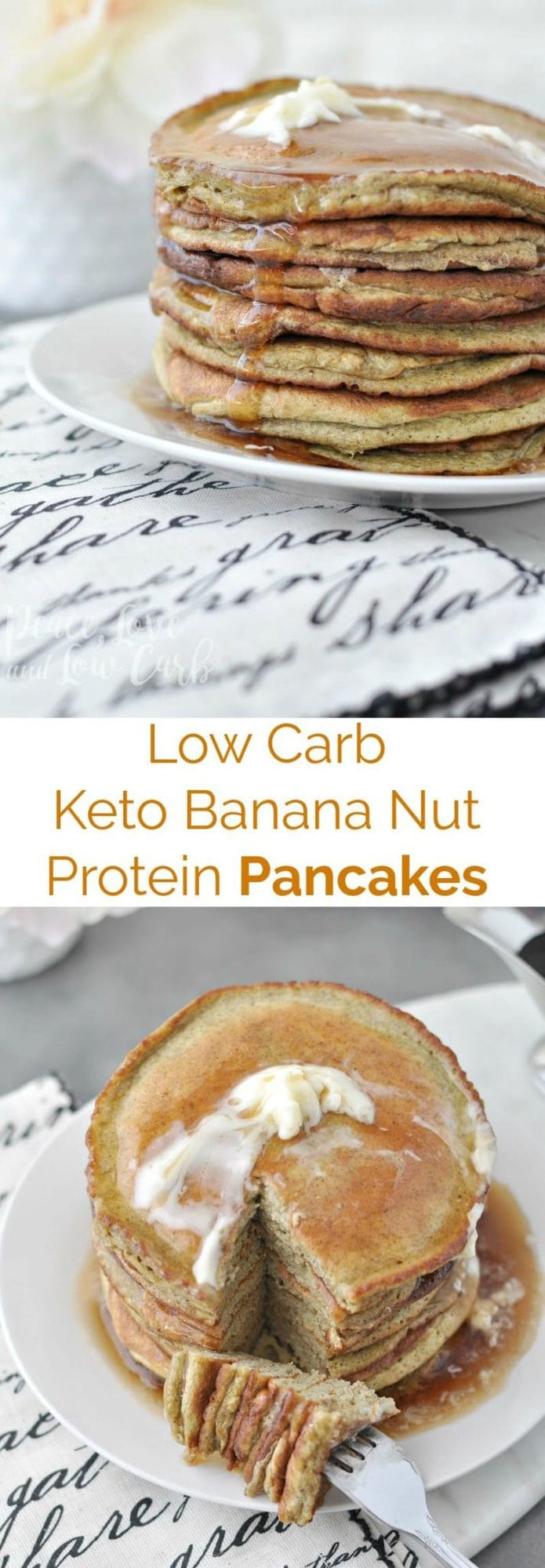 Low Carb Keto Banana Nut Protein Pancakes | Peace Love and Low Carb