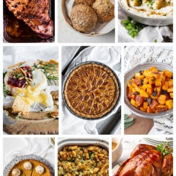 collage of recipes for a low carb thanksgiving spread