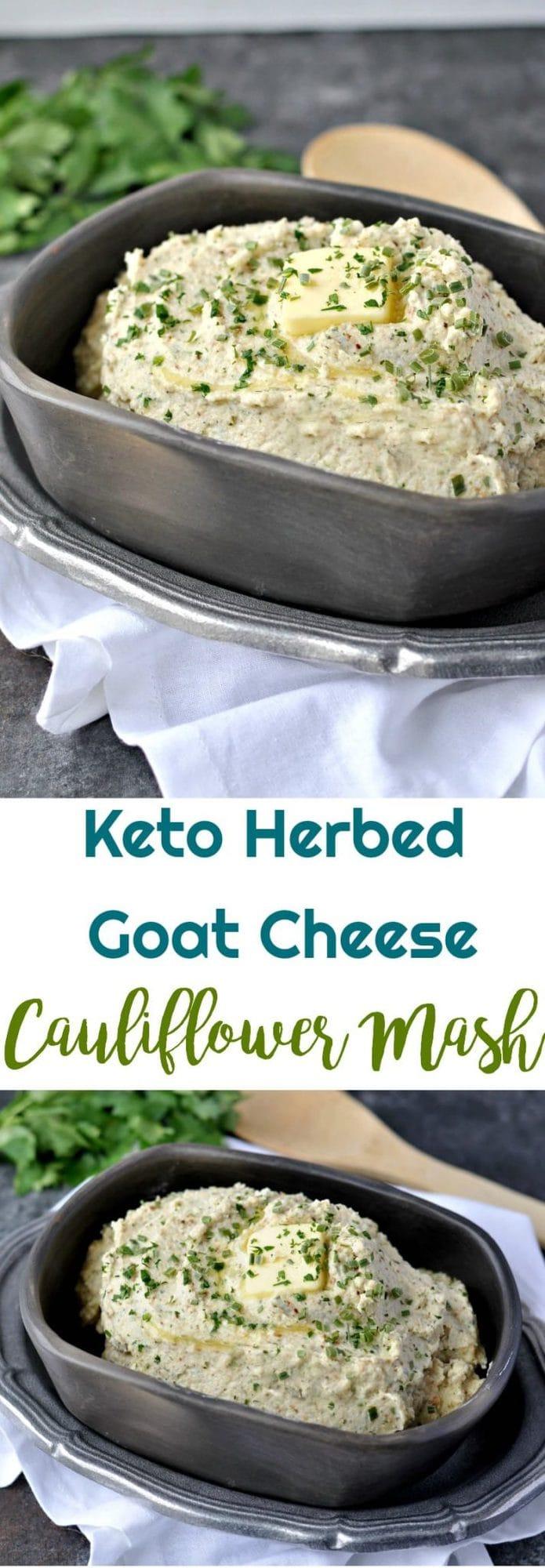 Keto Herbed Goat Cheese Cauliflower Mash    #lowcarbrecipes #keto #lowcarb #cauliflower #cauliflowermash