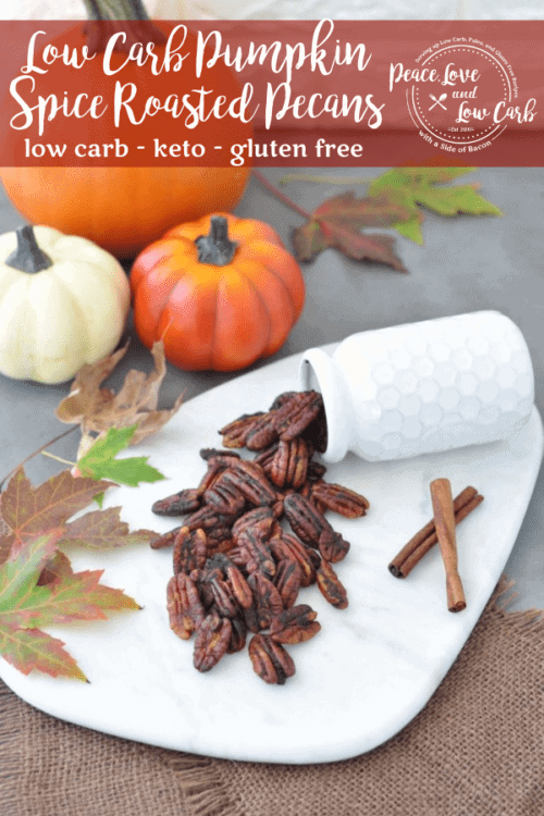 Sweet and crunchy with a satisfying pumpkin spice flavor that you can enjoy any time of year. These Low Carb Pumpkin Spice Roasted Pecans are the perfect sweet treat. Great for a snack on the go.