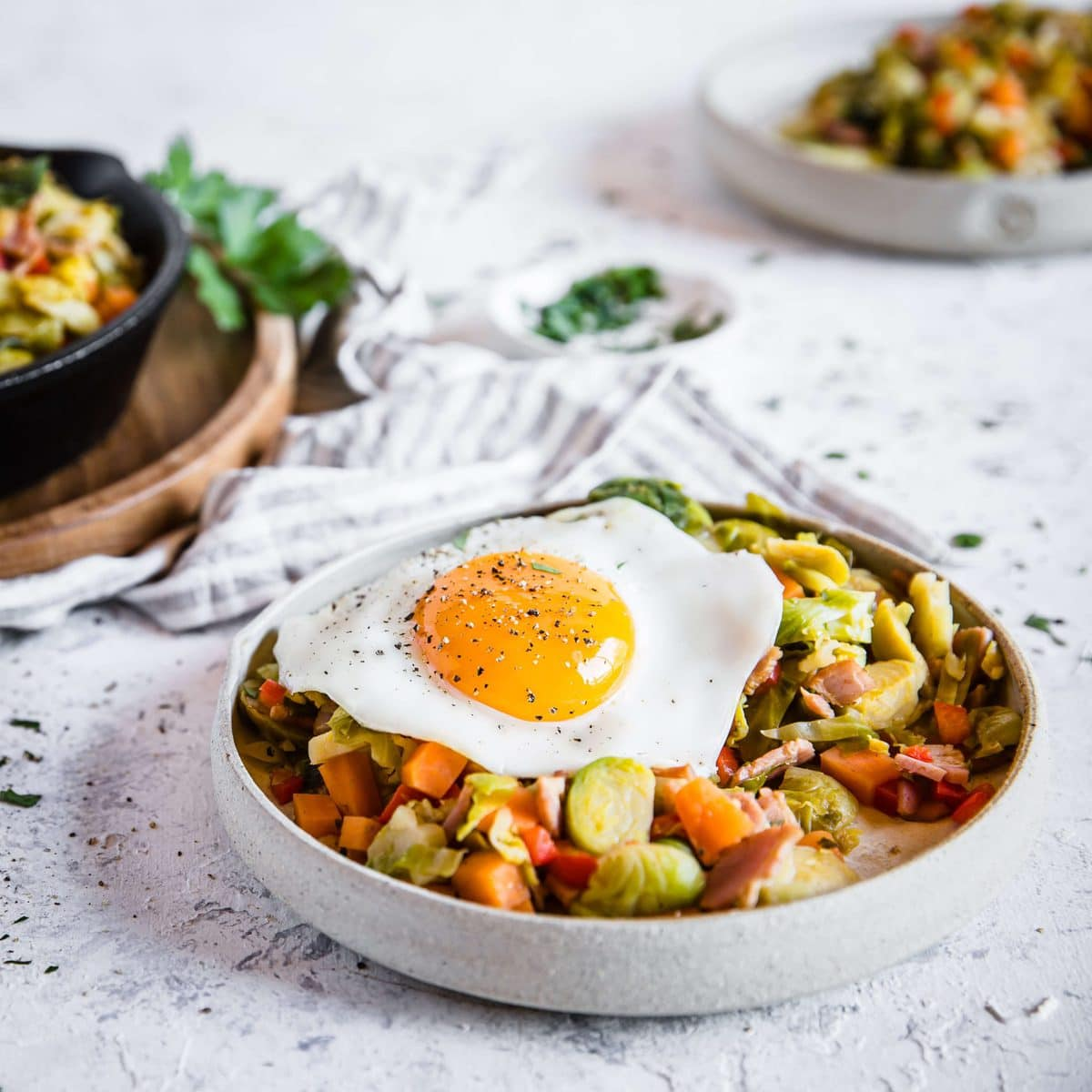 Brussels Sprouts, Sweet Potato, and Bacon Hash | Kyndra Holley