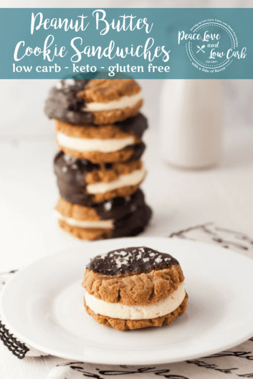 How could you possibly go wrong with Low Carb Chocolate Peanut Butter Cookie Sandwiches?