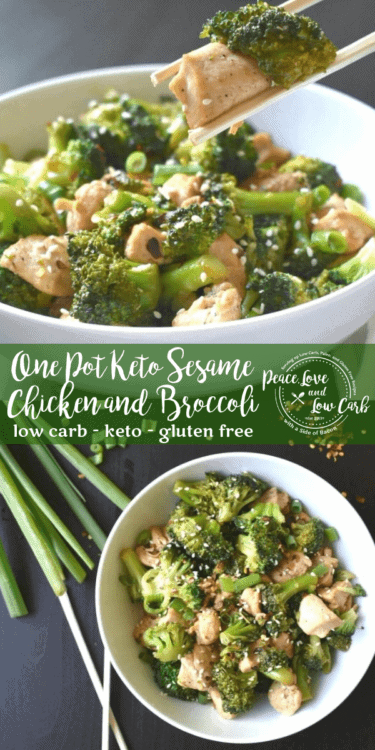 This One Pot Keto Sesame Chicken and Broccoli is easy to make, only calls for inexpensive, real food ingredients, and best of all, it only dirties one pan. Win/win!