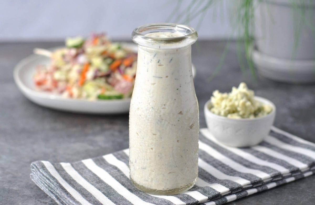 Creamy Chive Keto Blue Cheese Dressing | Peace Love and Low Carb