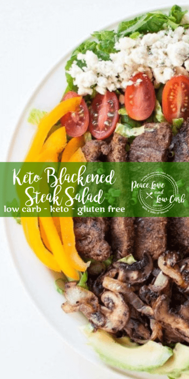This Keto Blackened Steak Salad is the full meal deal. No wimpy side salads here. Loaded up with healthy fats and lots of veggies, it is the kind of salad that will stick to your ribs.