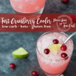 If you are looking for a crisp and refreshing low carb cocktail this summer, then you have come to the right place. This Keto Tart Cranberry Cooler is easy to make, and completely delicious.