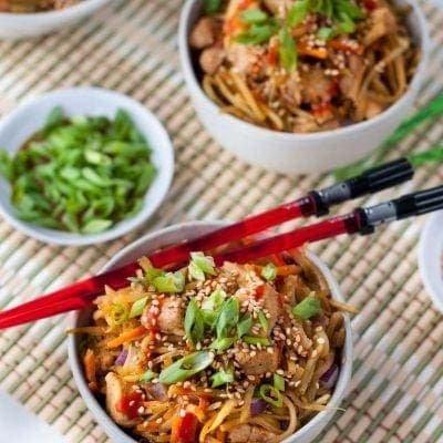 Sesame Chicken Egg Roll in a Bowl