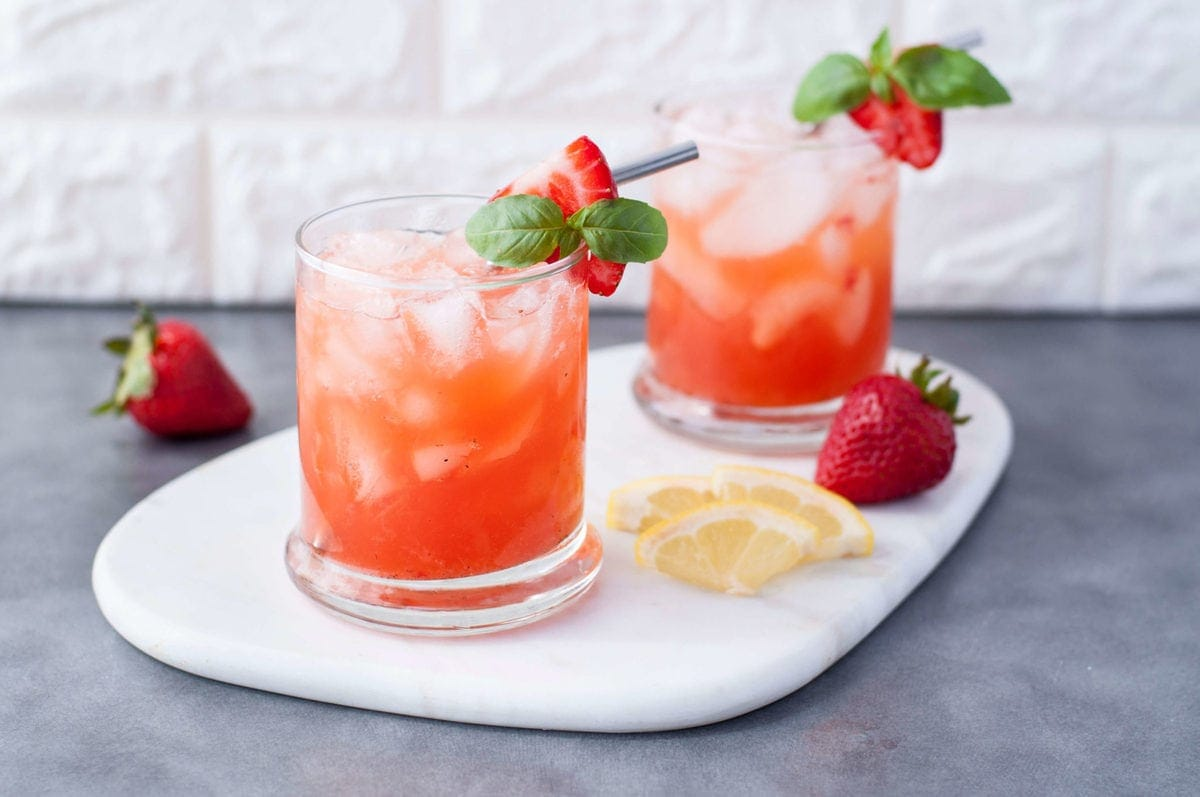 Low Carb Strawberry Basil Bourbon Smash | Peace Love and Low Carb