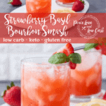 This Low Carb Strawberry Basil Bourbon Smash is the perfect refreshing summertime low carb cocktail recipe. Enjoy a keto cocktail recipe without giving up your healthy lifestyle.