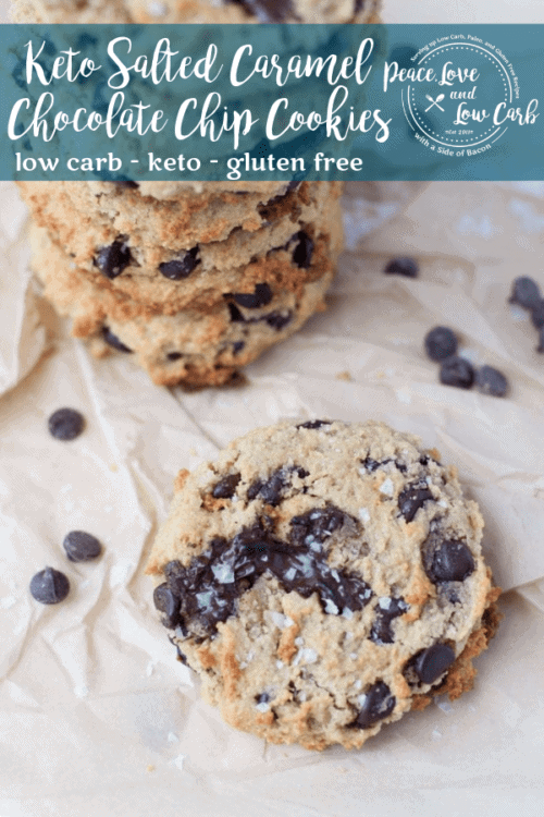 These Keto Salted Caramel Chocolate Chip Cookies are rich, chewy and even better than their sugary, carb laden counterparts.