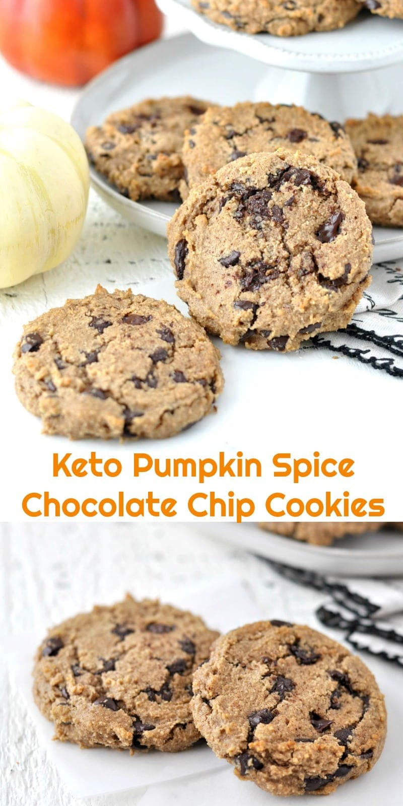 Keto Pumpkin Spice Chocolate Chip Cookies | Peace Love and Low Carb #pumpkin #lowcarbrecipe #ketorecipes #keto #lowcarb #glutenfree