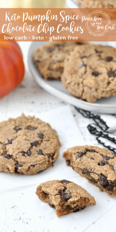 TheseKeto Pumpkin Spice Chocolate Chip Cookies are soft and chewy, with all the delicious flavors of fall. Best of all, they are low carb and gluten free.