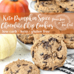 These Keto Pumpkin Spice Chocolate Chip Cookies are soft and chewy, with all the delicious flavors of fall. Best of all, they are low carb and gluten free.