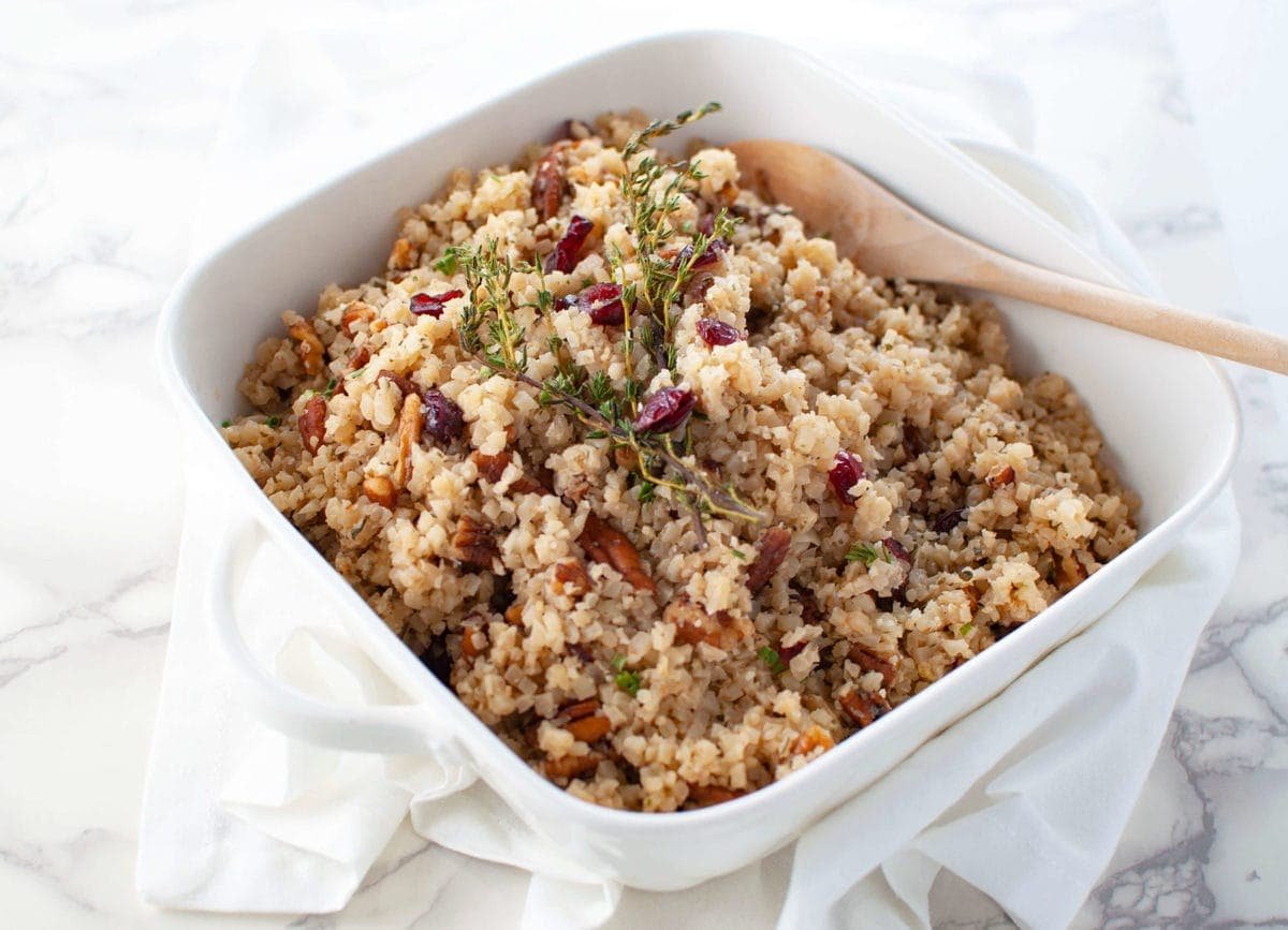 cranberry pecan cauliflower rice stuffing peace love and low carb