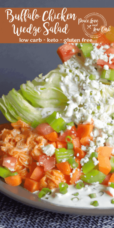 A quick and delicious spin on a classic wedge salad. This Buffalo Chicken Wedge Salad has all the amazing flavors of buffalo wings, with the perfect crunch that only a wedge salad can offer.