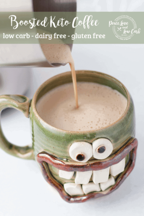Deliciously fat fueled, dairy free boosted keto coffee. Rich and creamy without the use of any dairy.