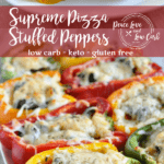 These Keto Supreme Pizza Stuffed Peppers are a simple and delicious way to still enjoy pizza while sticking to your healthy low carb lifestyle.