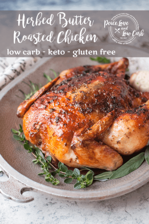 This herbed butter roasted chicken is the juiciest chicken you will ever sink your teeth into. Packing the butter and seasoning between the breasts and the skin locks in the flavor and keeps the chicken moist all throughout the cooking.