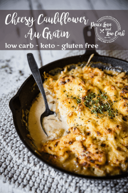 This Keto Cauliflower Au Gratin is the perfect comfort food side dish. It goes perfectly with steak, chicken, pork and even seafood.