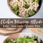Chicken and Broccoli Keto Fettucine Alfredo with Pesto