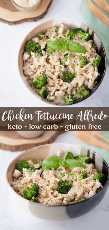 Chicken and Broccoli Keto Fettucine Alfredo with Pesto