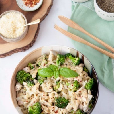 Chicken and Broccoli Fettuccine Alfredo with Pesto | Peace Love and Low Carb