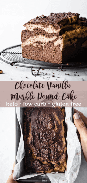 This Chocolate Vanilla Marble Keto Pound Cake is enough like cake to feel like a decadent low carb dessert yet dense enough to pass for breakfast with coffee.