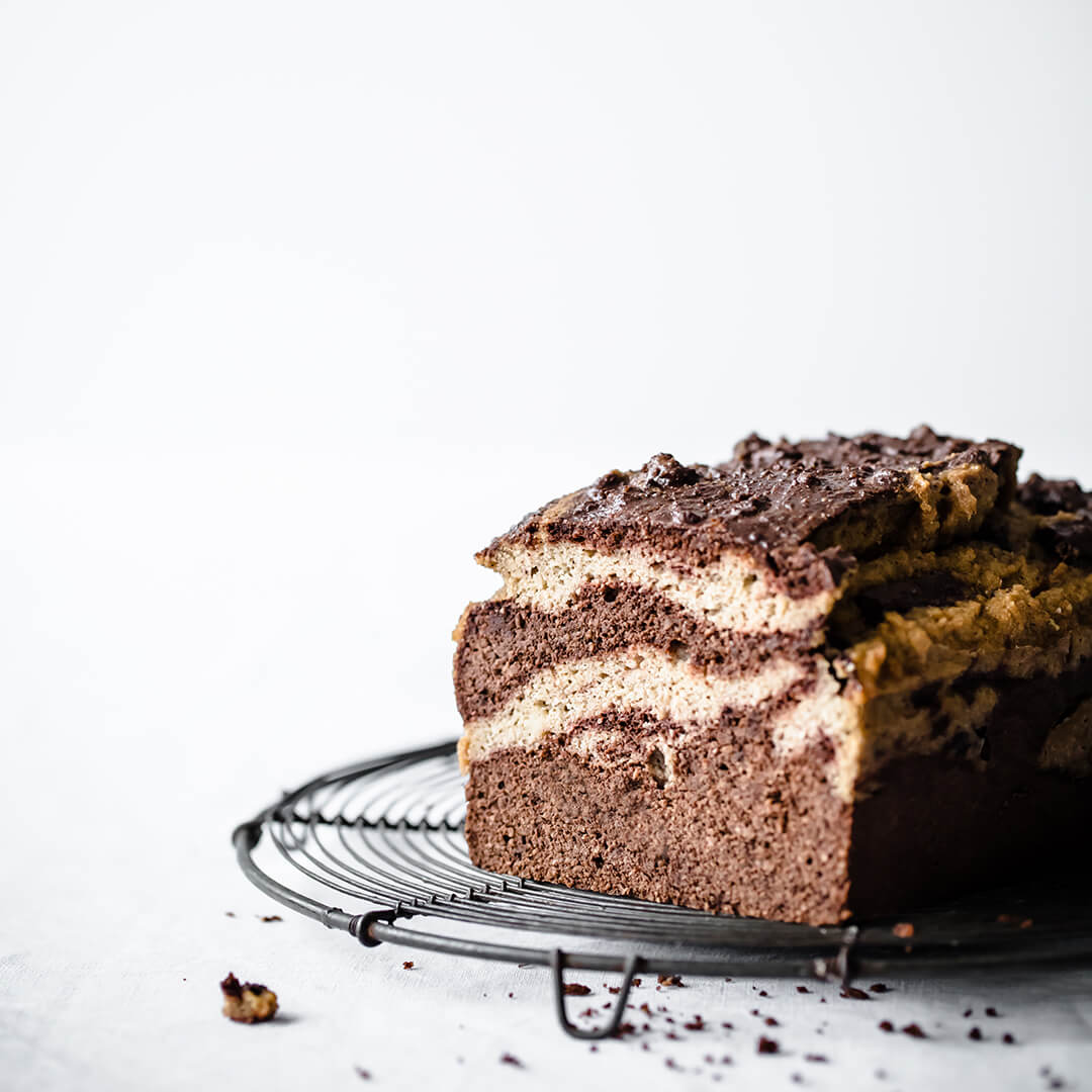 Chocolate Vanilla Marble Keto Pound Cake | Peace Love and Low Carb