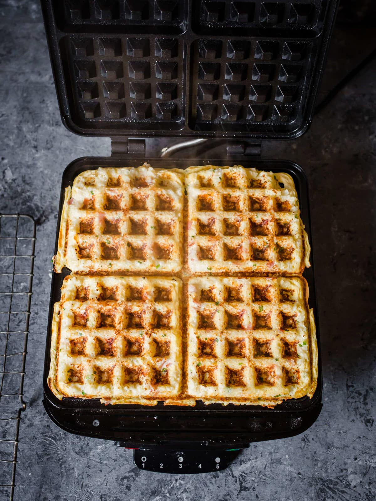 Ham and Gruyere Savory Cauliflower Waffles | Peace Love and Low Carb