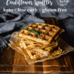These savory, keto friendly Ham and Gruyere Cauliflower Waffles are perfect for any meal of the day. But my favorite way to enjoy them is with a yolky poached egg.