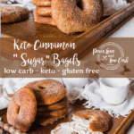 These warm and chewy keto cinnamon sugar bagels are perfect served with a generous slathering of salted butter or whipped cream cheese.