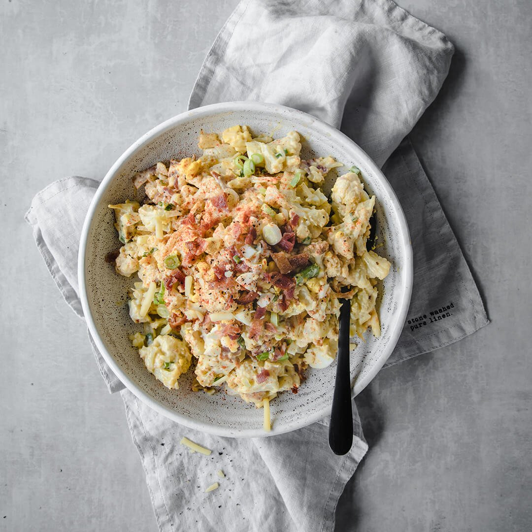 Loaded Mock Keto Potato Salad   Peace Love and Low Carb