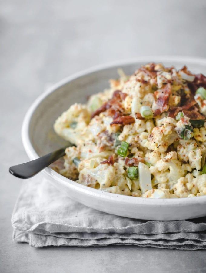 Loaded Mock Keto Potato Salad | Peace Love and Low Carb