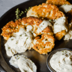 These Keto Chicken Fried Cauliflower Steaks have all the crispy and delicious flavors of a traditional Country Fried Steak Recipe, but in a vegetarian keto recipe.
