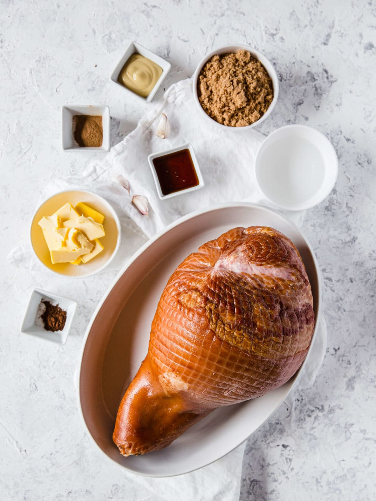 flat lay of all the ingredients to make a keto glazed ham