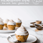 These Keto Pumpkin Spice Cupcakes with Marshmallow Frosting have all the deliciously sweet flavors of fall while still being sugar free and gluten free.| Peace Love and Low Carb