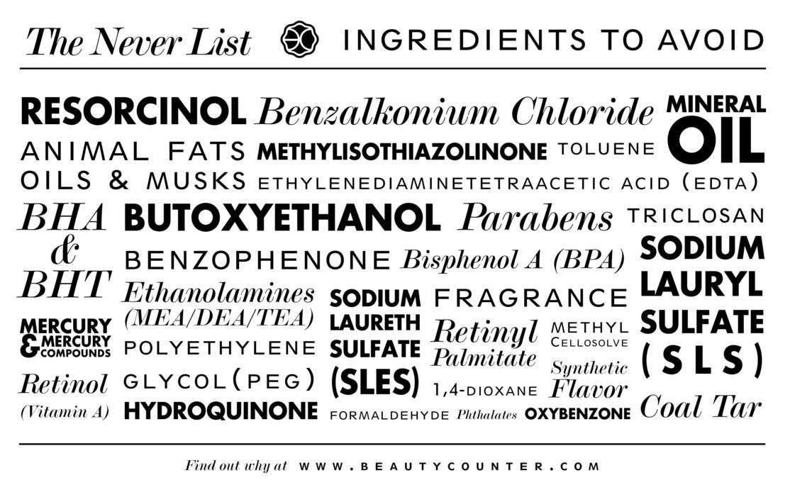 Beautycounter Never List - a list of toxic ingredients they will never use in their products
