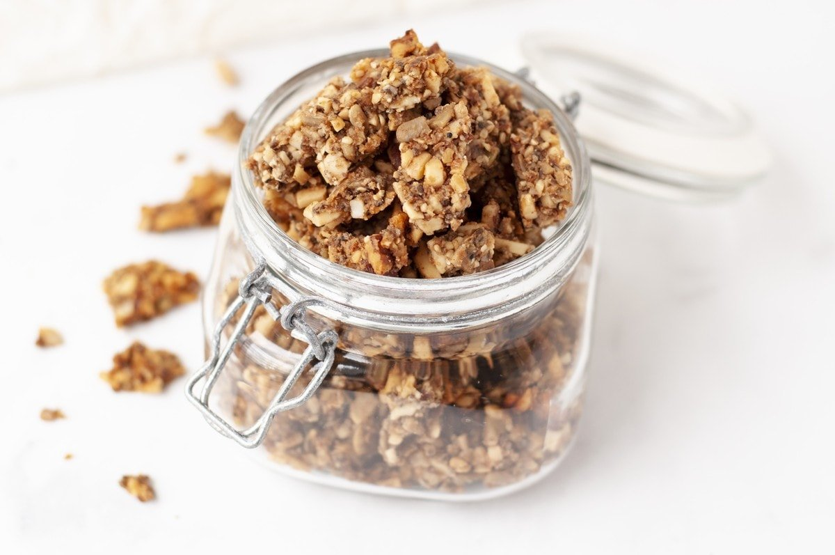 a jar of low carb granola