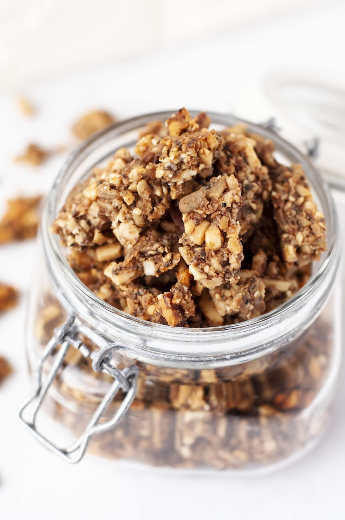 close up of a jar of paleo granola