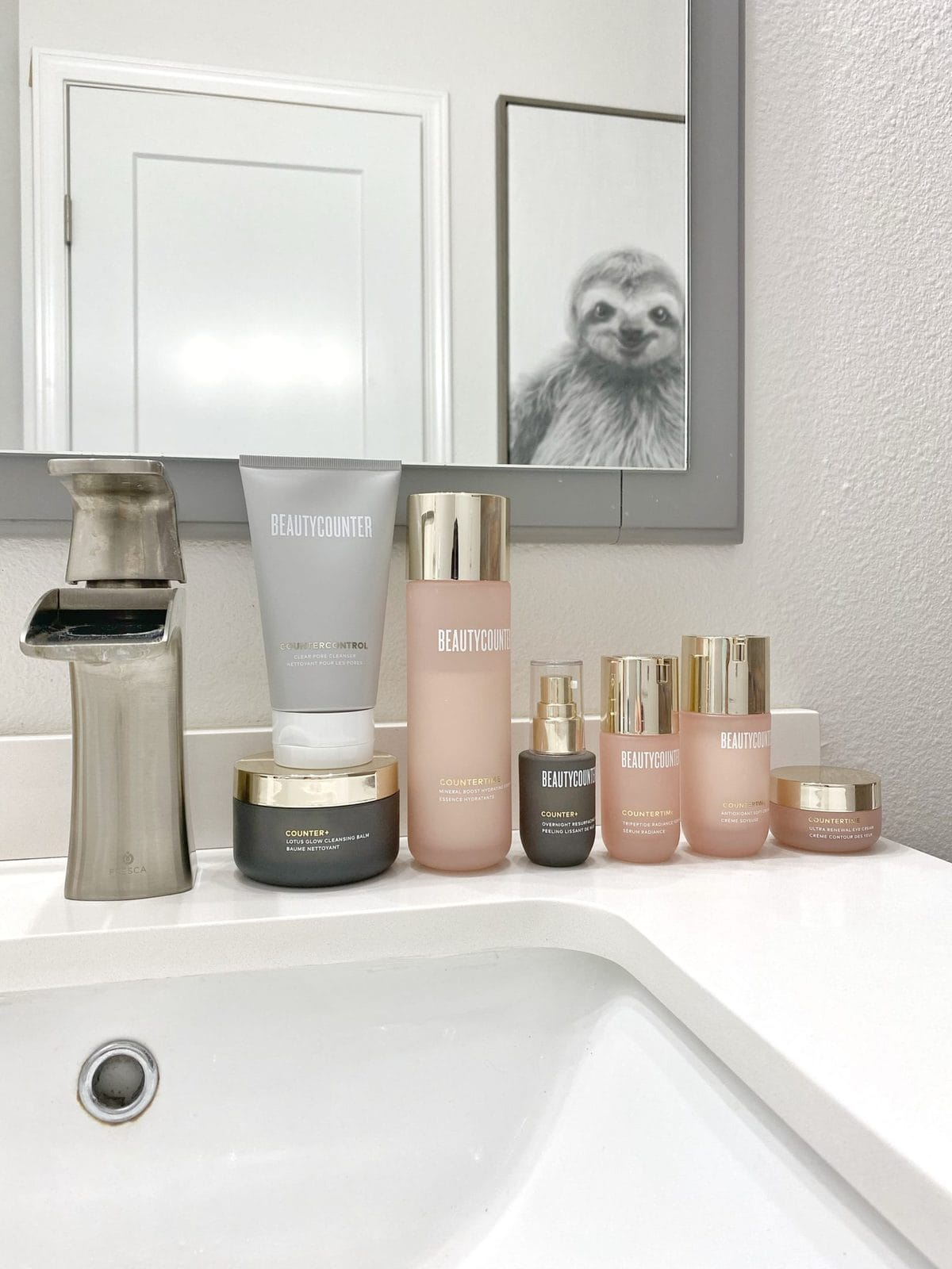 Image of safer skincare products on a bathroom counter - Beautycounter Overnight Resurfacing Peel and Countertime Line
