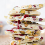 close up of white chocolate bark piled high