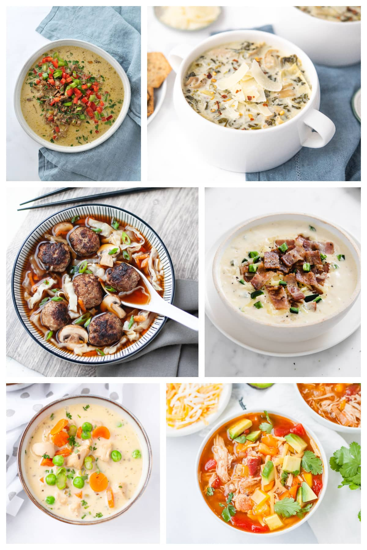 Collage of soup photos for a keto soup recipe round up