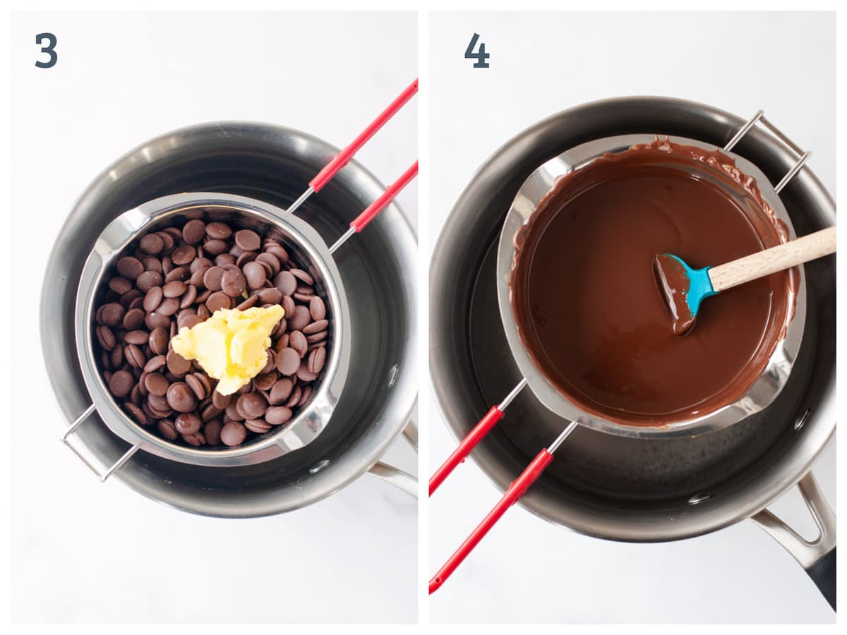 A collage of two images - One with coconut oil and chocolate chips in a double boiler, one one with those ingredients melted.