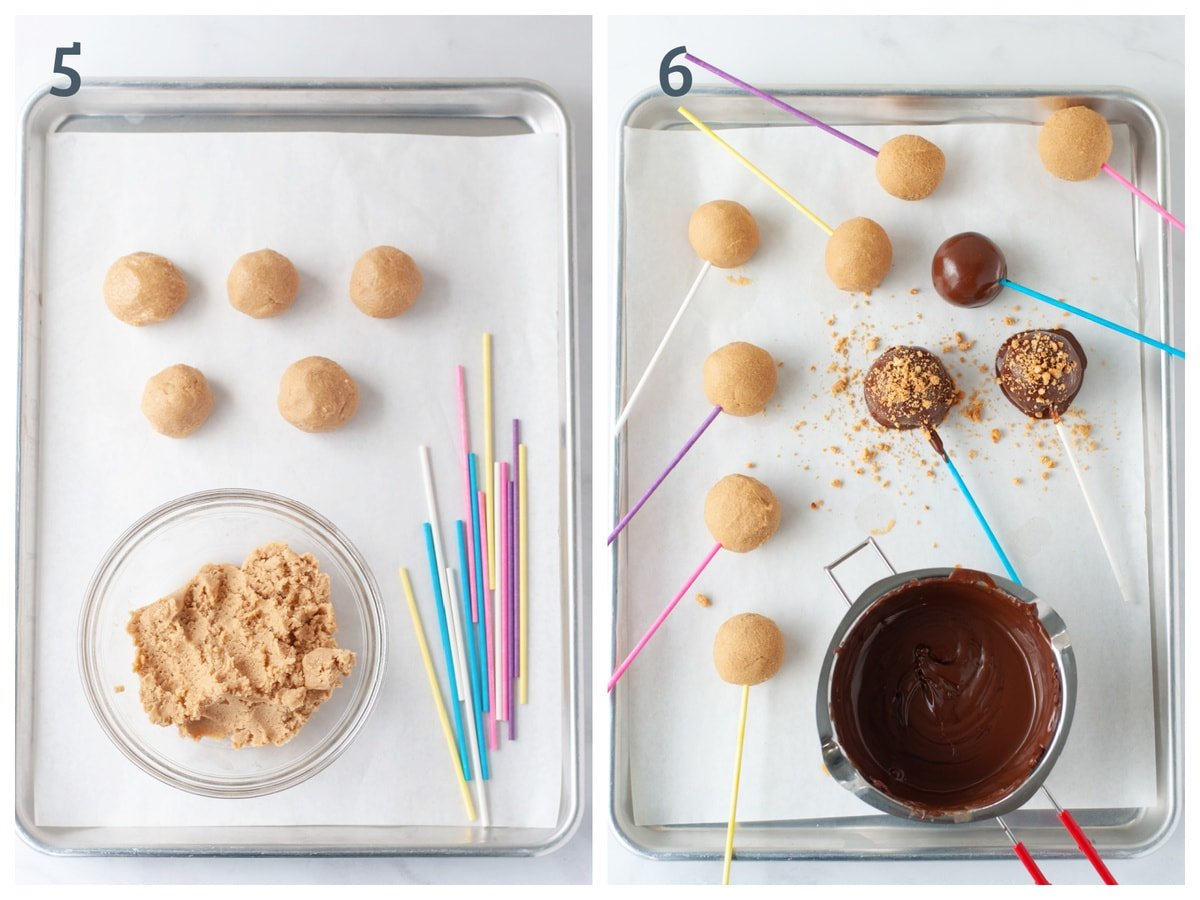 A collage of two images - One with peanut butter balls being rolled up, and the other with those balls being dipped in chocolate and topped with nuts