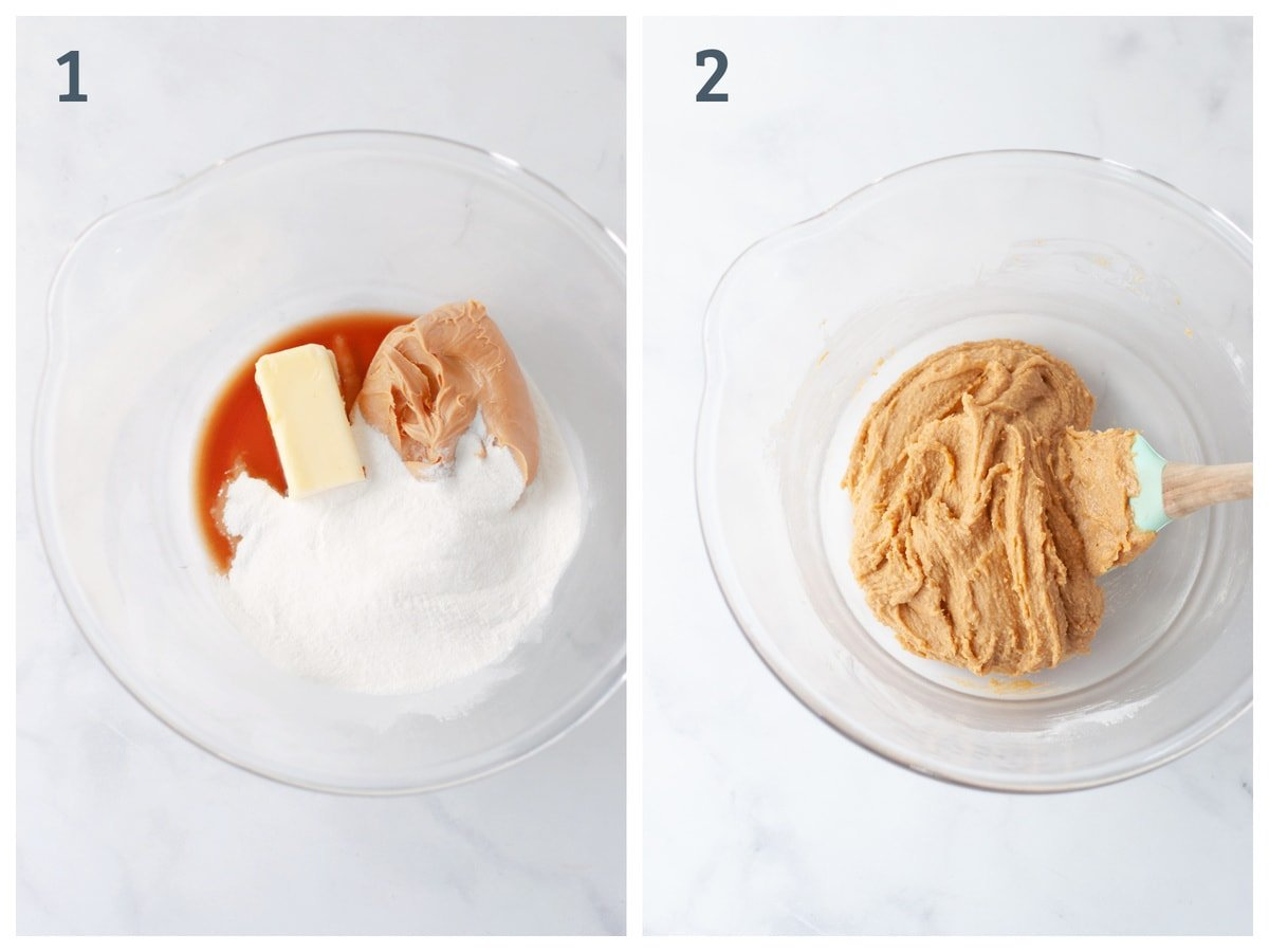 A collage of two images - One with butter, vanilla extract and sweetener in a bowl, and the other those ingredients mixed