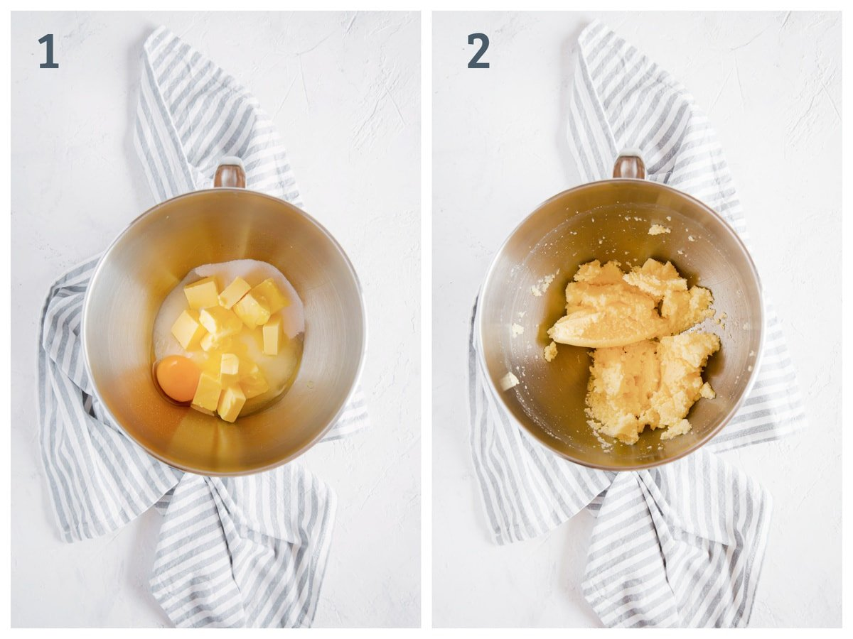 2 images side by side. The first one is sweetener, butter, and eggs in a mixing bowl. The second is those ingredients mixed