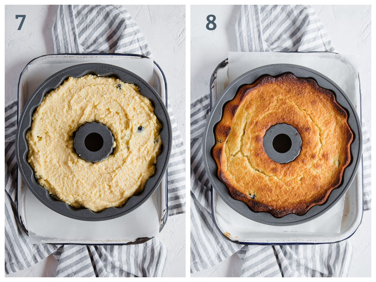 2 side by side images - left - batter for blueberry lemon pound cake in a bundt pan. on the right - the baked cake